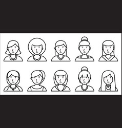 Set of women outline icons on white background vector