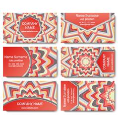Set visiting card with mandala vector