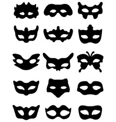 Silhouette of festive masks vector