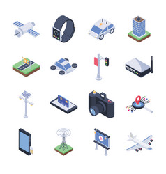 smart city icons pack vector image