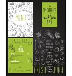 Smoothies and fresh juices bar menu vector image
