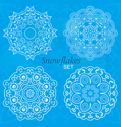 Snowflakes set of round ornaments for creativity vector
