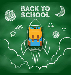 space drawing with chalk on school blackboard vector image