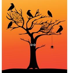 spooky tree orange vector image