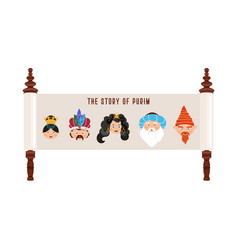 Story of purim with traditional characters vector