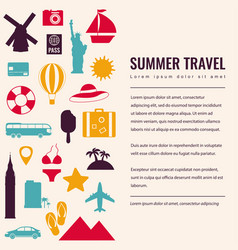 Summer holidays background with travel icons vector