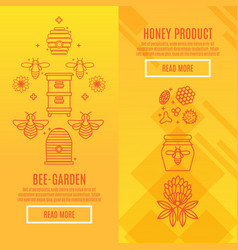 Sunny set banners honey product vector