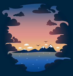 sunset and sea background vector image