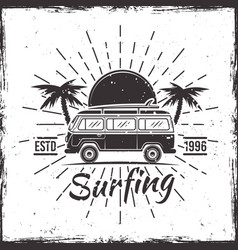 Surfing bus with palms black emblem vector