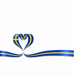Swedish flag heart-shaped ribbon vector