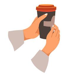 takeaway coffee hands holding brewed beverage vector image