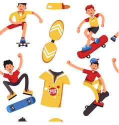 teen skater seamless pattern boys on skateboards vector image