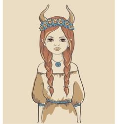 The astrological sign taurus girl vector