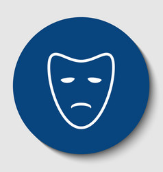 tragedy theatrical masks white contour vector image