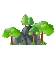 Trees around gray stone vector