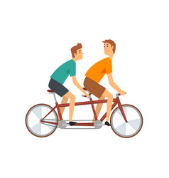 two men riding tandem bike male cyclists vector image