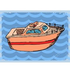 Vintage grunge background with motorboat vector