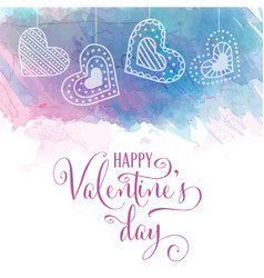 watercolor valentines day card vector image