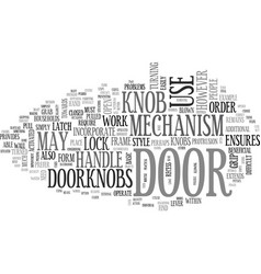 which door handle should you choose text word vector image