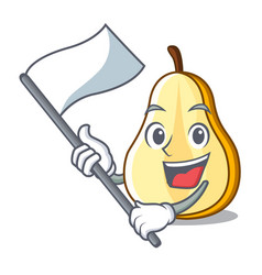 with flag sliced fresh juicy pear mascot cartoon vector image