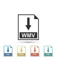 Wmv file document icon download wmv button icon vector