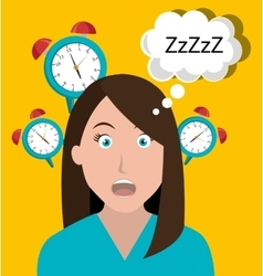Woman waking up cartoon vector