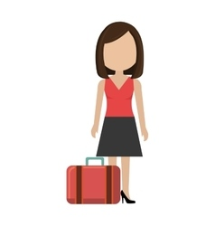 woman with suitcase travel vector image
