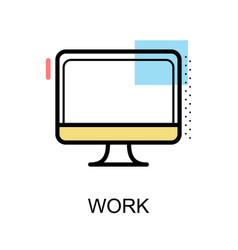 work icon with computer on white background vector image