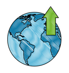 world planet earth with arrow up vector image