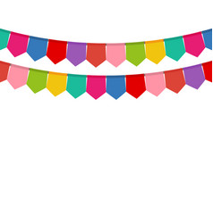 colored flags on a holiday garland vector image vector image