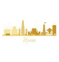 Hanoi City skyline golden silhouette vector image