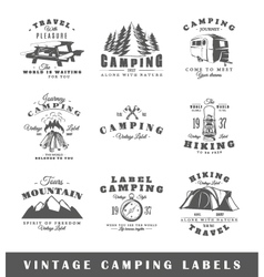 Set of vintage camping labels vector image vector image