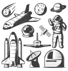 Space Monochrome Elements Set vector image