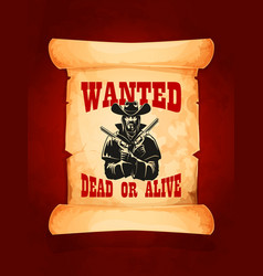 wanted dead or alive cowboy poster design vector image