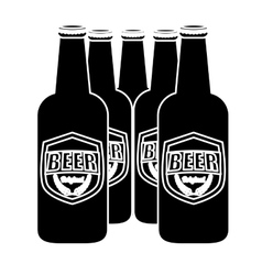 black brown bottles of beer icon image vector image
