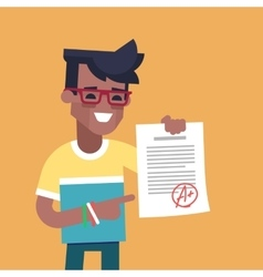 Black student holding sheet with the highest mark vector image