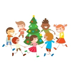 Children round dancing Christmas tree in baby club vector image