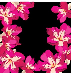 Floral pattern with hibiscus hand-drawing vector image