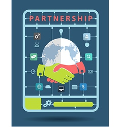 Partnership idea concept with business icons vector image vector image