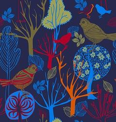 Retro abstract birds background vector image