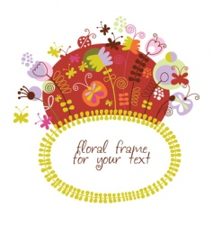 stylized floral frame greeting card vector image