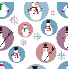 template of snowmen on blue and purple background vector image vector image