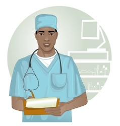 African american doctor with stethoscope vector image vector image