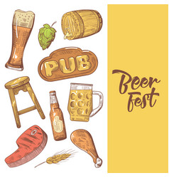 beer festival hand drawn advertising poster vector image