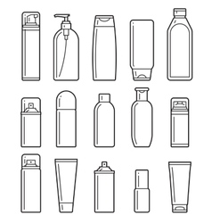 Cosmetic bottles Flat icons vector image vector image