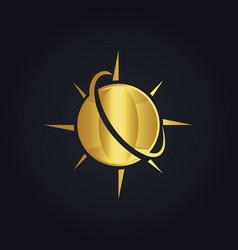 globe planet arrow gold logo vector image vector image