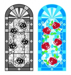 Stained glass floral windows vector