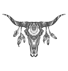 tribal animal skull with vector image