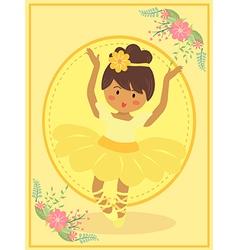 Cute Yellow Ballerina Girl vector image