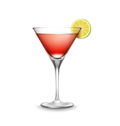 glass of cosmopolitan cocktail vector image vector image
